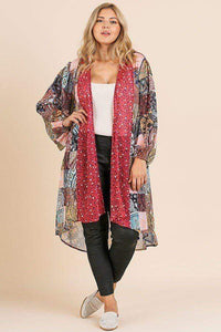 Tops Red Mix / XL Plus Size Open Front Long Kimono