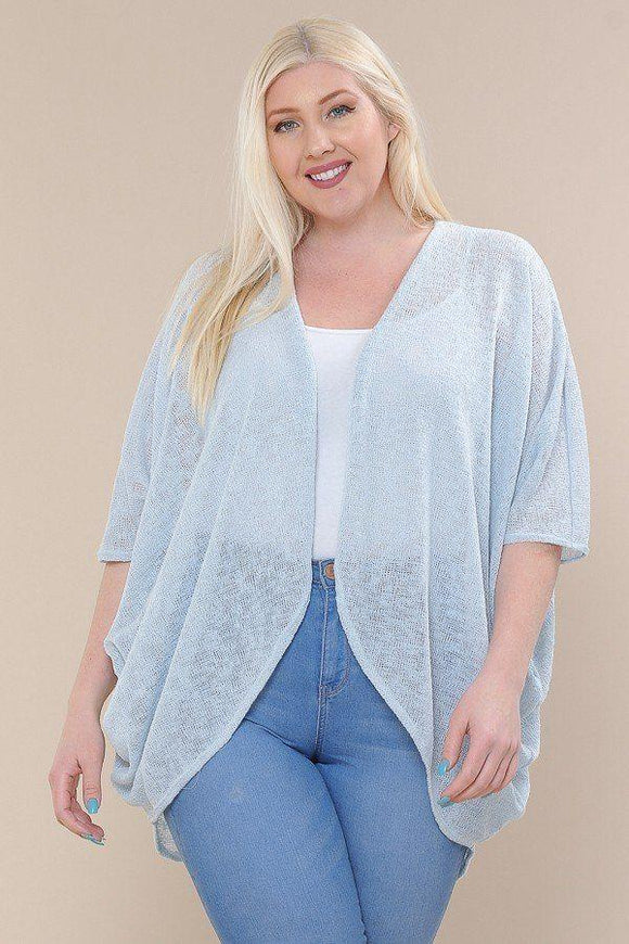 Tops Dusty Blue / 1XL Plus Size Open Front Short Duster