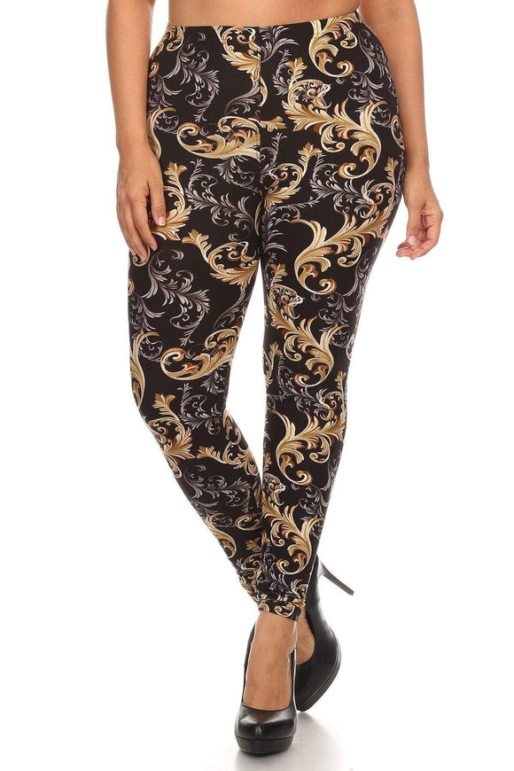 One Size Fits Most Plus Size Paisley Print, Full Length Leggings In A Slim Fitting Style With A Banded High Waist