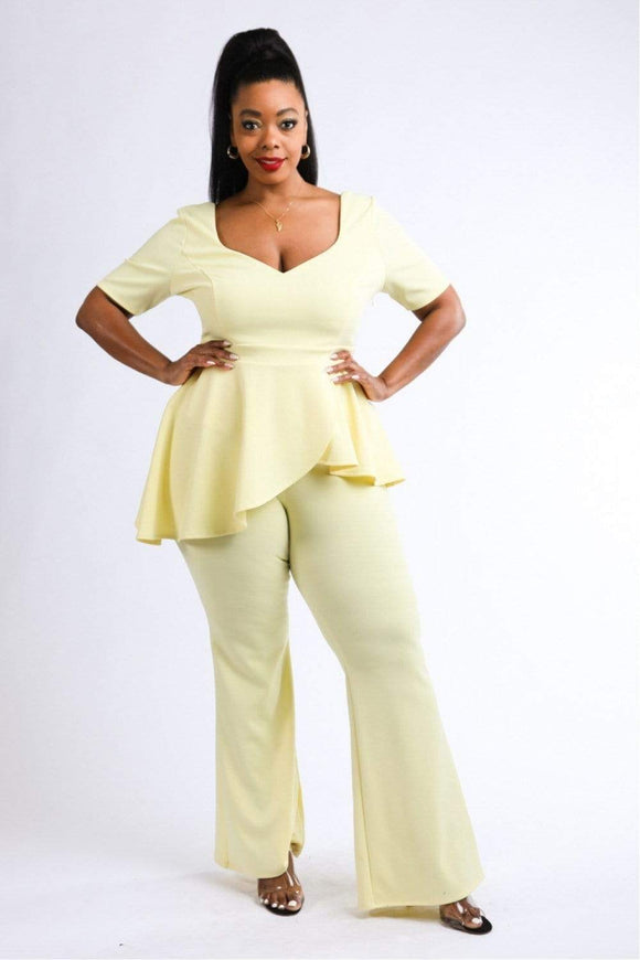 1 and 2 pc Sets Yellow / 1XL Plus Size Peplum Top & Pants Set- Yellow/Taupe/Black