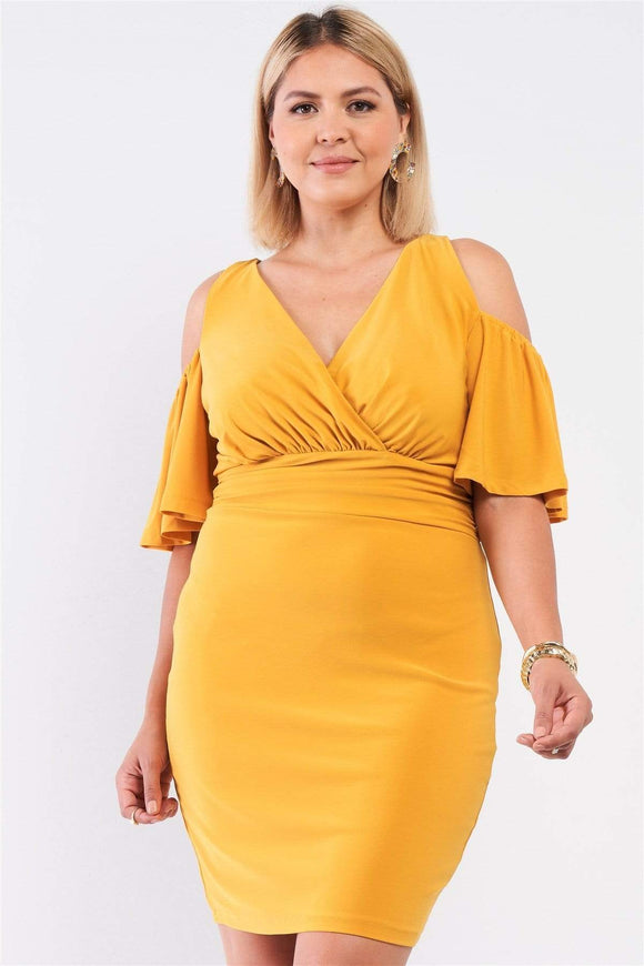 Dresses Mustard / 1XL Plus Size Plunging Wrap Dress- Assorted Colors