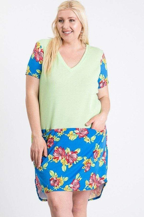 Dresses Royal Floral / 1XL Plus Size Pocket Front Floral Dress- Assorted Colors
