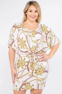 Dresses Ivory/Yellow/Red / 1XL Plus Size Print Short Sleeve Dress- Ivory/Black