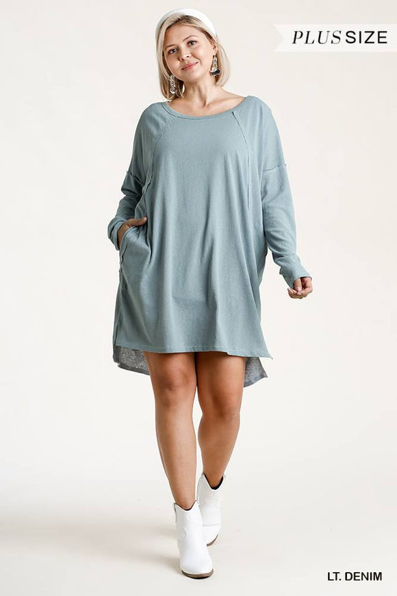 Plus Size Raglan Sleeve Raw Edged Dress- Assorted Colors