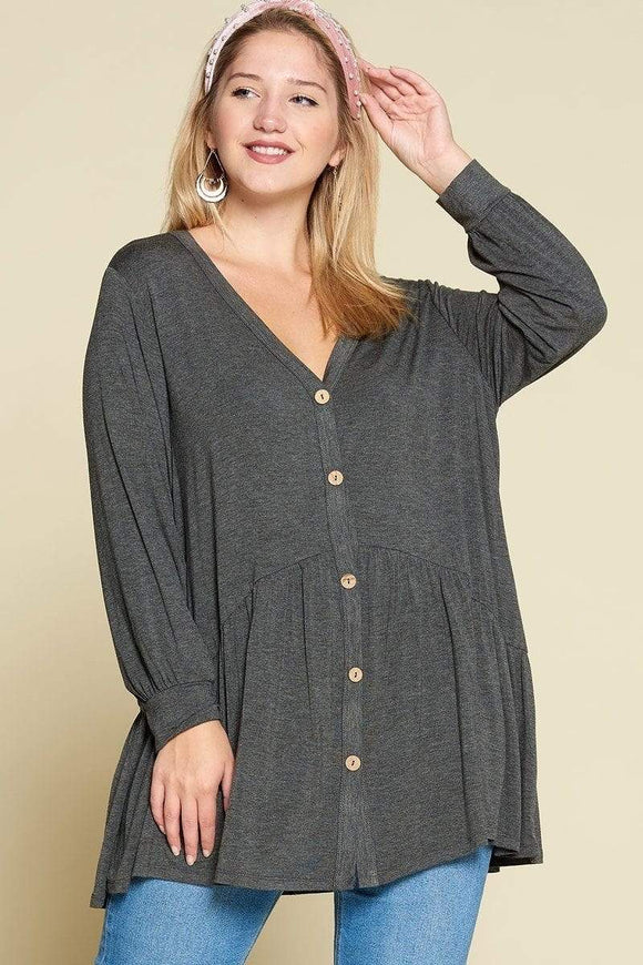 Plus Size Rayon Jersey Faux Button Up Top- Assorted Colors