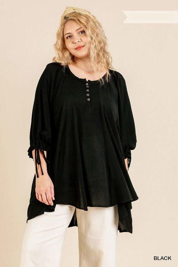 Tops Black / XL Plus Size Rayon Ruffle Tie Sleeve Top