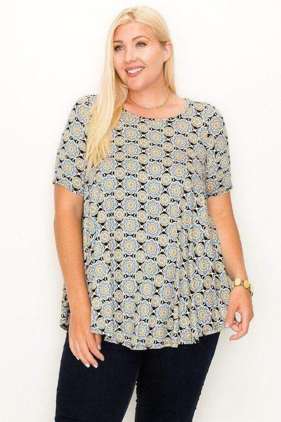 Tops Plus Size Round Hem Multi Print Tunic Top- Multi