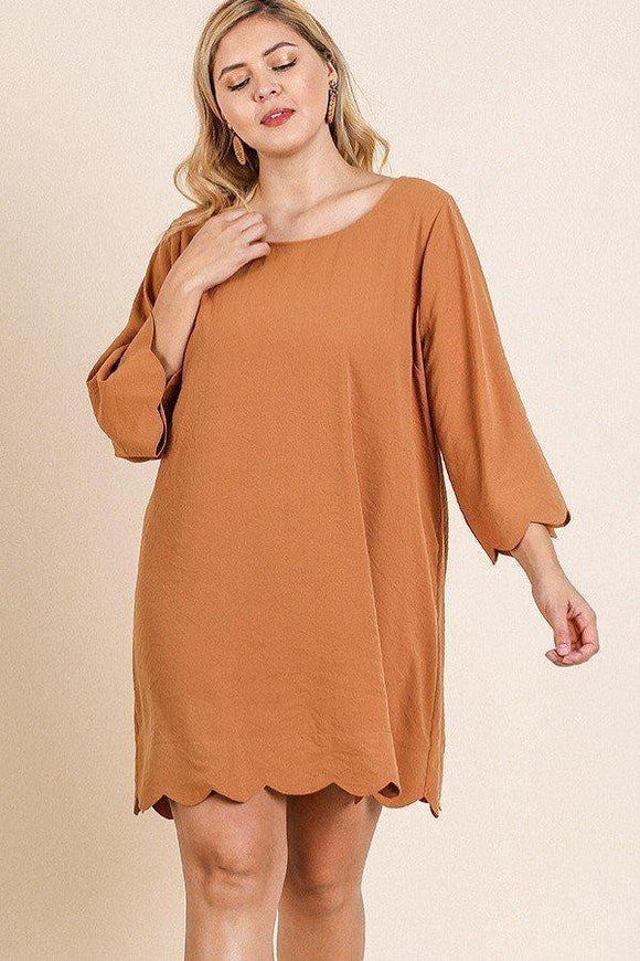 Dresses Terracotta / XL Plus Size Round Neck Dress- Terracotta/Mint