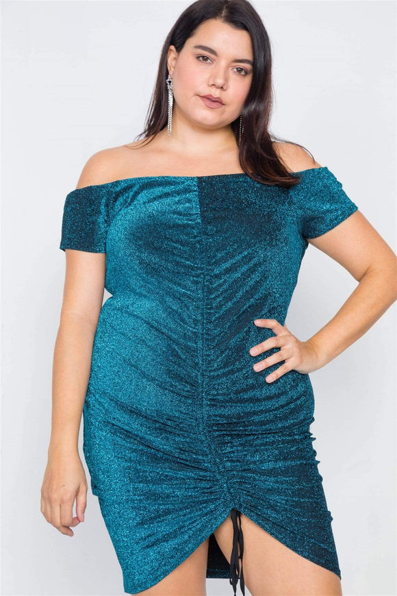 Dresses Teal / 1XL Plus Size Ruched Glittery Mini Dress