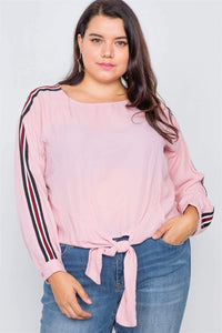 Plus Size Semi-Sheer Color Block Front Knot Top