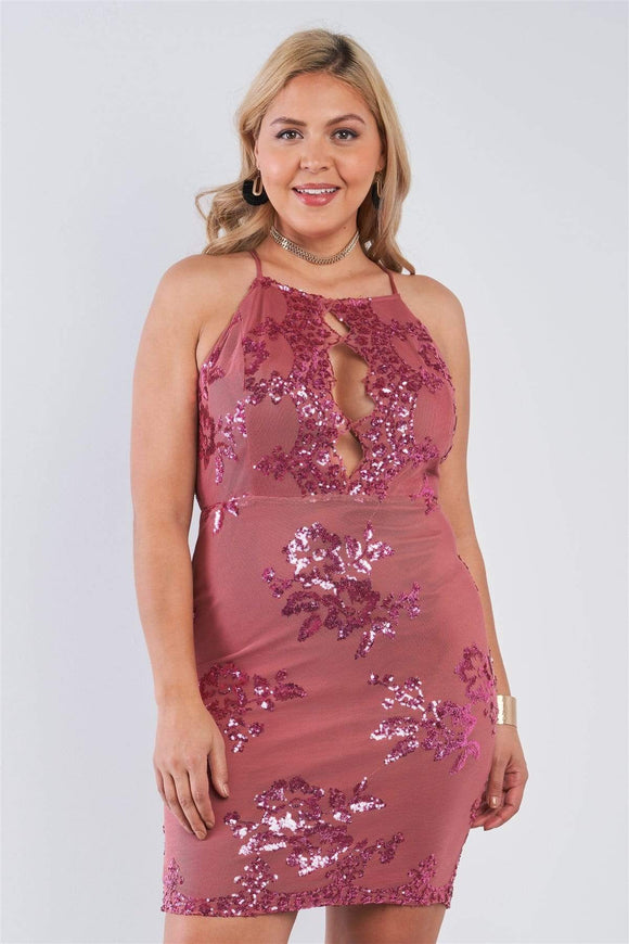Dresses Marsala / 1XL Plus Size Sequin Criss Cross Back Dress- Marsala/Black