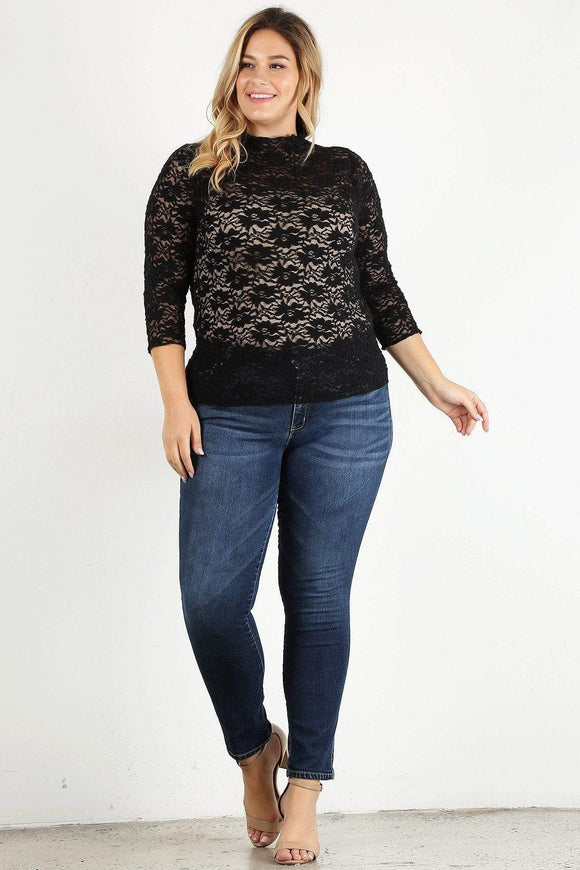 Plus Size Sheer Textured Lace Fitted Top- Rose/Black