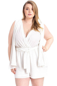 Ivory / 1XL Plus Size Shimmer Fabric Draped Romper- Assorted Colors