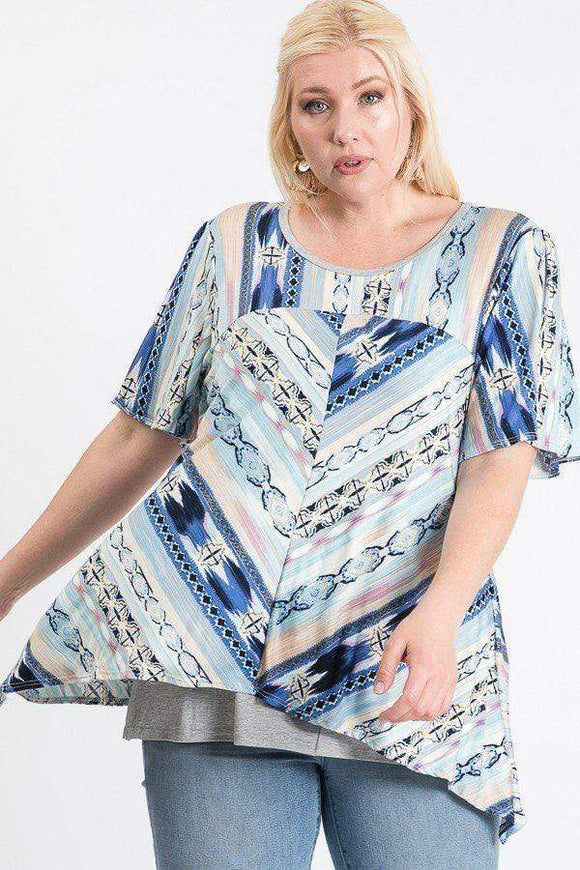Tops Denim / 1XL Plus Size Short Sleeve Aztec Patterned Layered Top
