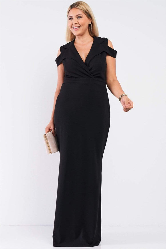 Plus Size Sleeveless Collared Maxi Dress- Black