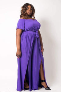 1 and 2 pc Sets Purple / 1XL Plus Size Slit Wide Leg and Crop Set- Purple/Olive