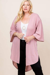 Sweaters & Outerwear Plus Size Solid Hacci Brush Long Cardigan- Assorted Colors