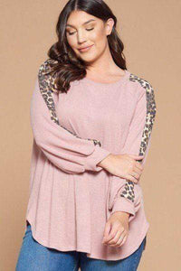 Plus Size Solid Hacci Brush Animal Print Top- Assorted Colors