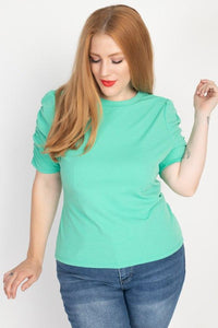 Tops Plus Size Solid Ruched Short Sleeve Shirt- Assorted Colors