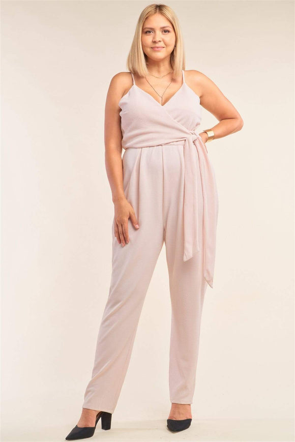 Plus Size Stone Blush Sleeveless V-neck Jumpsuit