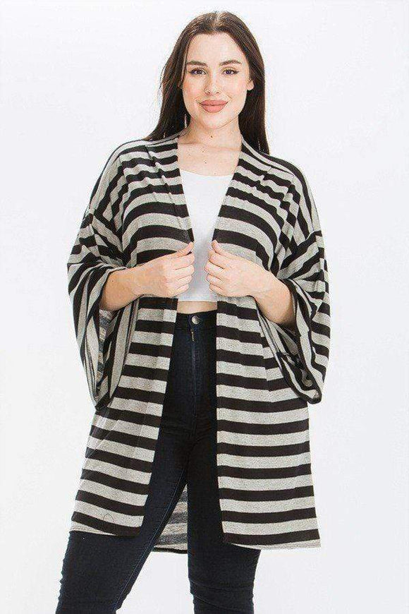 Tops Plus Size Striped Knit Kimono Style Sleeve Top