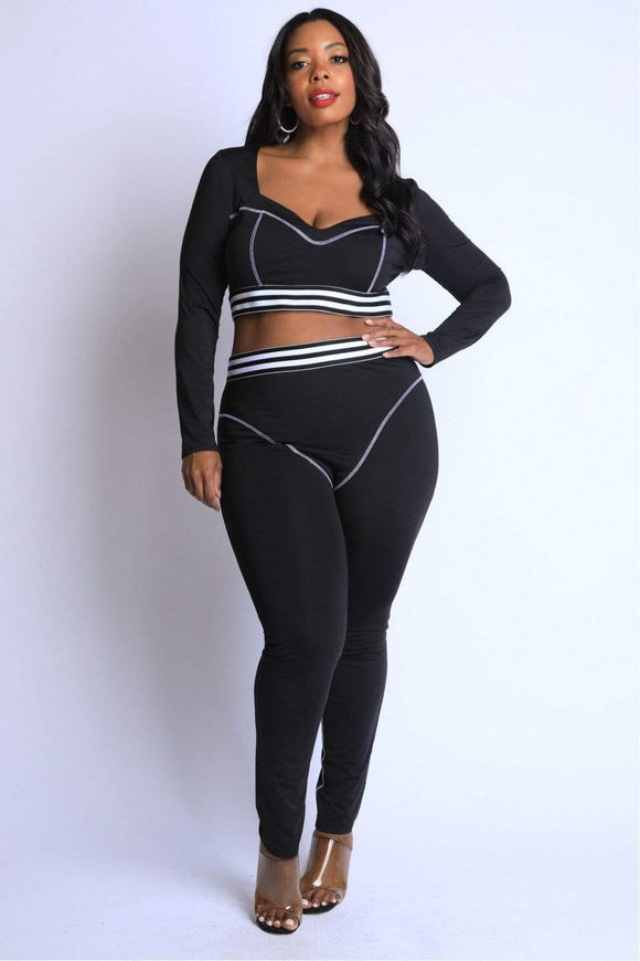 Plus Size Striped Reverse Cover Stitch Detailed Set