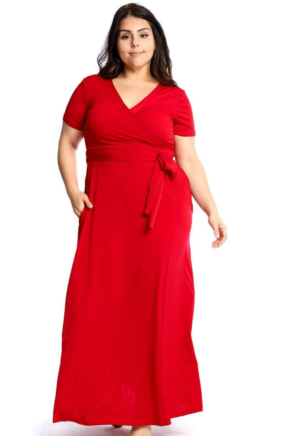 Dresses Red / 1XL Plus Size Summertime Maxi Dress-Mustard/Fuchia/Red