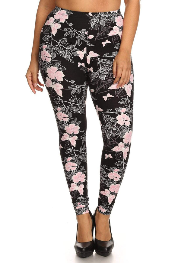 Bottoms Multi Plus Size Super Soft Butterfly Print Leggings- Peach