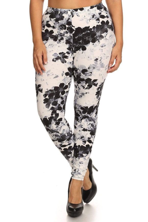 Multi Plus Size Super Soft Knit Legging- Floral Print