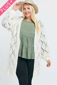 Sweaters & Outerwear Off White / 1XL Plus Size Textured Long Sleeve Cardigan- Assorted Colors