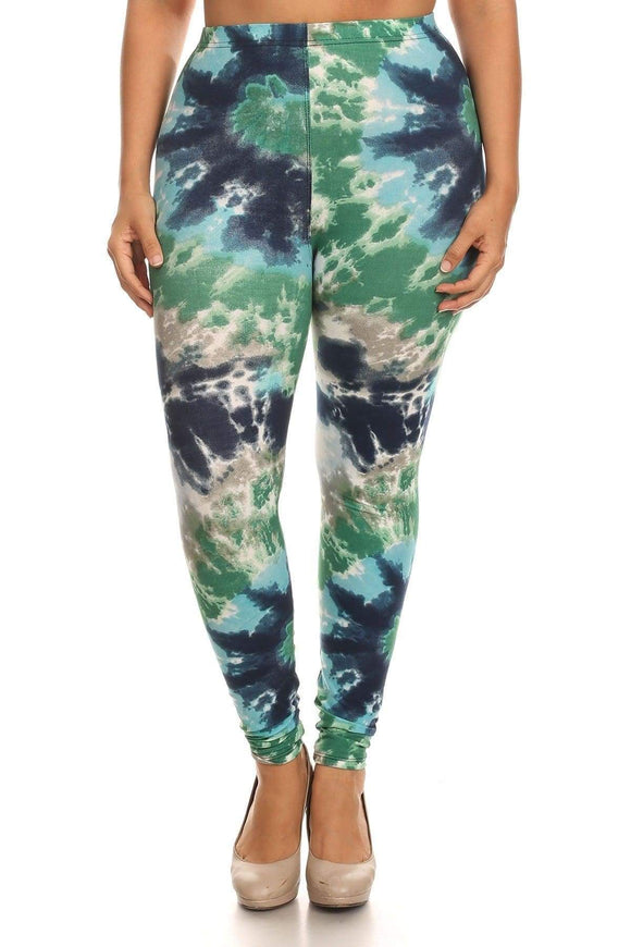 Bottoms One Size Fits Most Plus Size Tie Dye Print Full Length Leggings