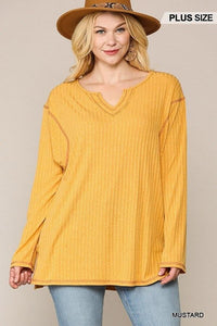 Tops Mustard / XL Plus Size Two-tone Side Slit Ribbed Top- Assorted Colors