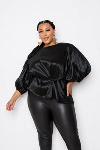 Plus Size Vibrant Black Waist Tie Top