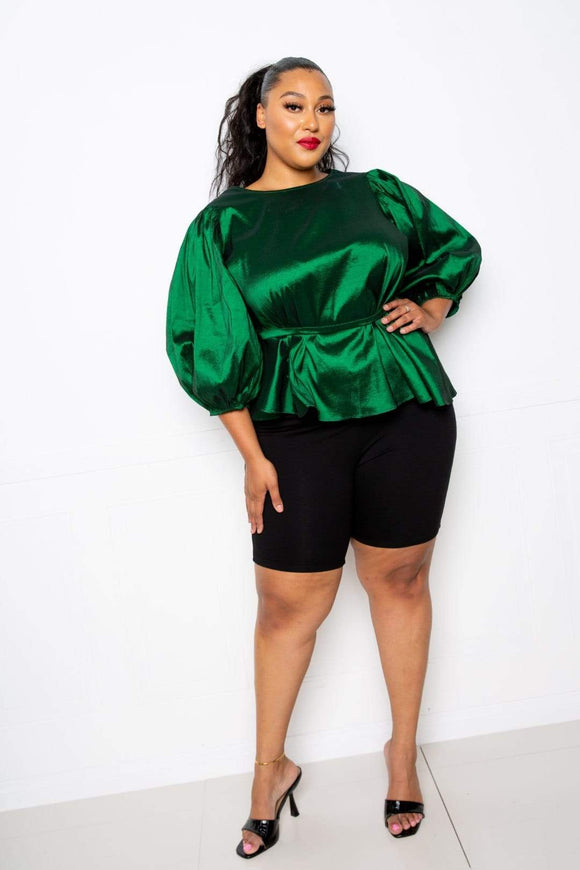Tops Green / 1XL Plus Size Vibrant Voluminous Top- Assorted Colors