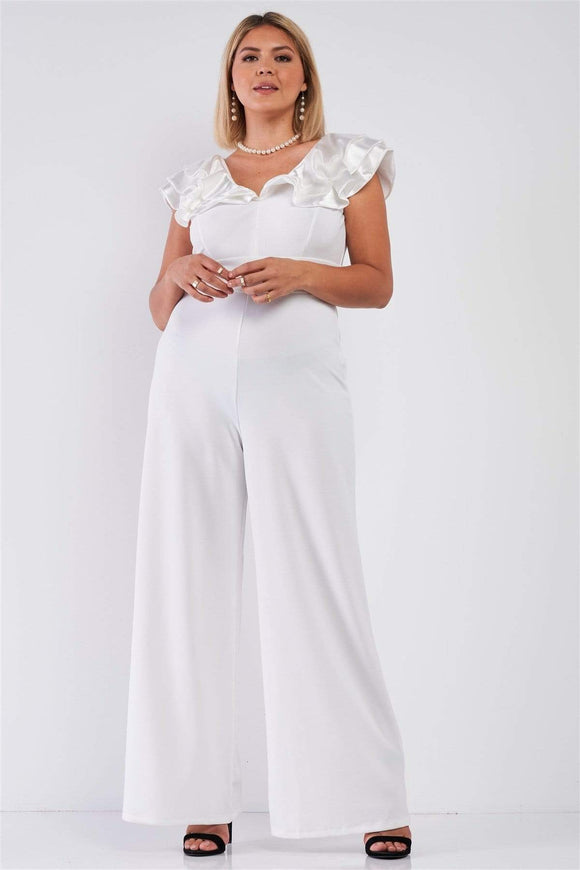 1 and 2 pc Sets Ivory / 1XL Plus Sleeveless Satin Ruffle Shoulder Detail V-neck Wide Leg Jumpsuit