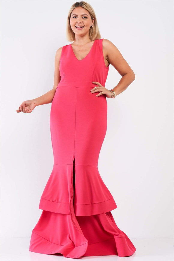 Plus Sleeveless V-neck Front Slip Layered Flare Hem Maxi Mermaid Dress