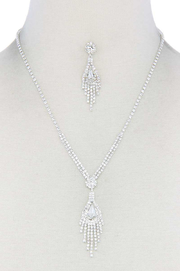 Silver Rhinestone Dangle Pendant Necklace