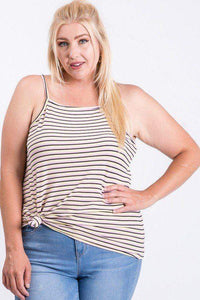 Yellow/pink Plus Size Sleeveless Multi Color Rib Fabric Top