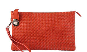 Handbags Red Smooth Textured Woven Clutch- Assorted Colors
