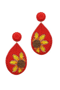 Trendy Seed Bead Tear Drop Flower Earring- Assorted Colors