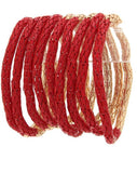 Jewelry Red Two Tone Metal Stretch Bracelet Set- Assorted Colors