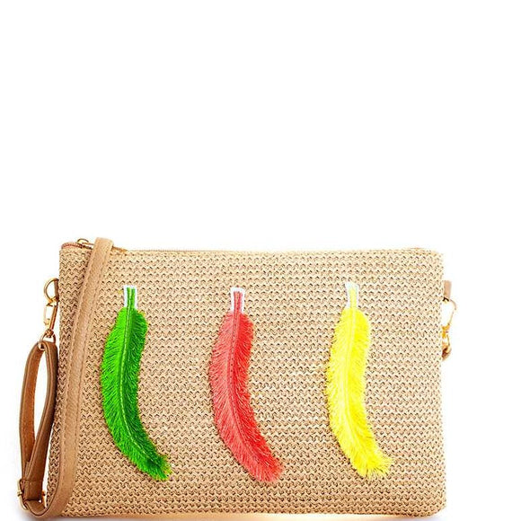 Multi Woven Feather Long Strap Clutch