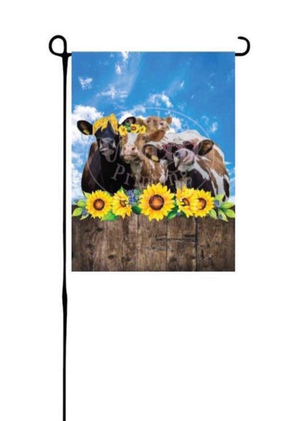 Cows & Sunflowers Garden Flag