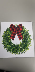 Christmas Wreath with Red Buffalo plaid Bow