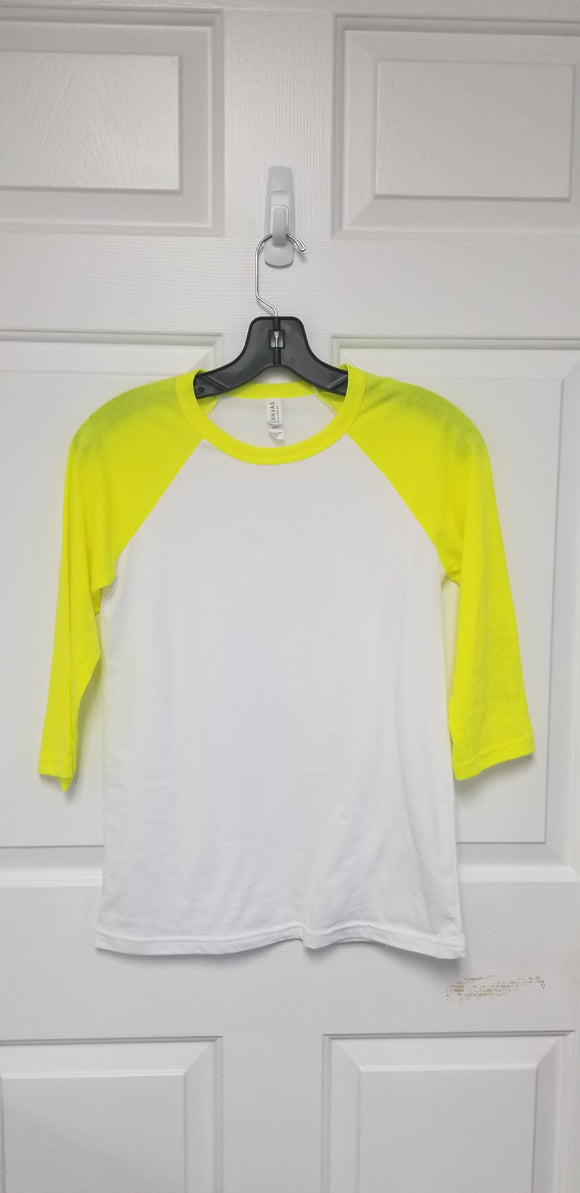 Neon Yellow Bella+Canvas Raglan (baseball) Shirts