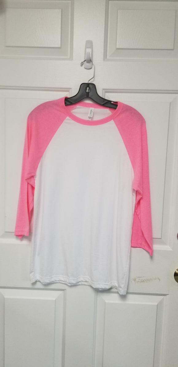 Neon Pink Bella+Canvas Raglan (baseball) Shirts