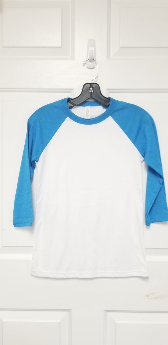 Neon Blue Bella+Canvas Raglan (baseball) Shirts