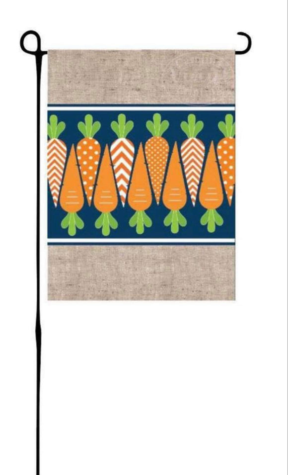 Carrots on Blue & Faux Burlap Garden Flag