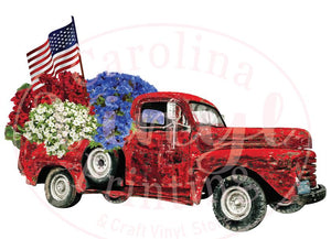 Red Patriotic Flower Truck Heat Transfer