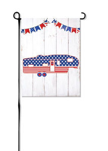 Patriotic Fifth Wheel (New Design) Camper without words Garden Flag